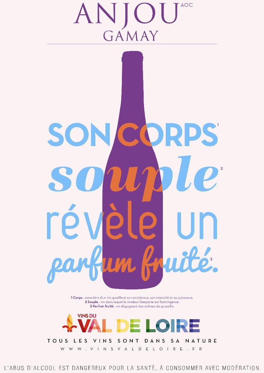 Affiche de l'Anjou Gamay, un vin rouge au corps souple et au parfum fruité