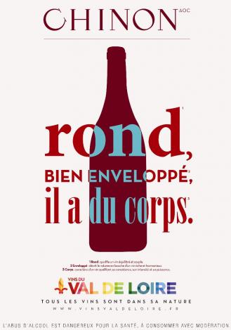 Affiche du Chinon, un vin qui a du corps, apte à la longue conservation
