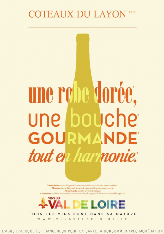 Poster of the Coteaux du Layon, perfect harmony between a golden robe and a gourmet mouth
