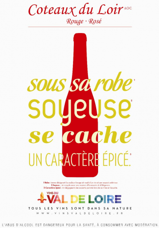 Poster of the Coteaux de Loir Rouge and Rosé, a wine with a silky coat and a spicy character