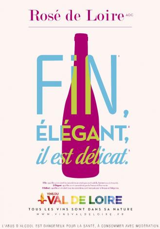 Affiche du Rosé de Loire, un vin se distinguant pour son caractère sec, sans sucrosité