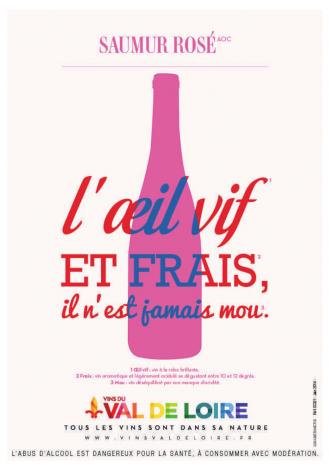 Affiche du Saumur Rosé, un vin rosé sec et tendre