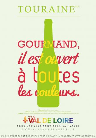 Affiche du Touraine, un vin fruité et aromatique, qui se décline dans toutes les couleurs