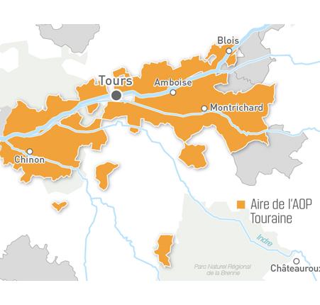 Carte du Touraine, un vin fruité et aromatique, qui se décline dans toutes les couleurs